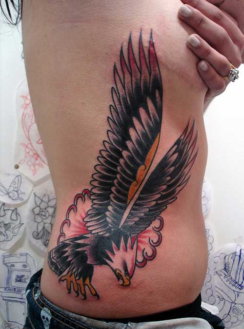 belly eagle tattoo for girls