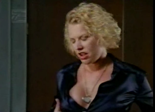 Ladies in Satin Blouses: Holly Sampson - navy blue satin ...