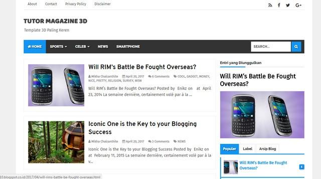Tutor Magazine 3D V1.0 Responsive Blogger Templates