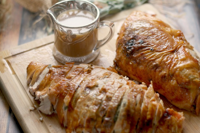 Sage and Shallot Roasted Turkey Breast with Apple Cider Gravy - All ...