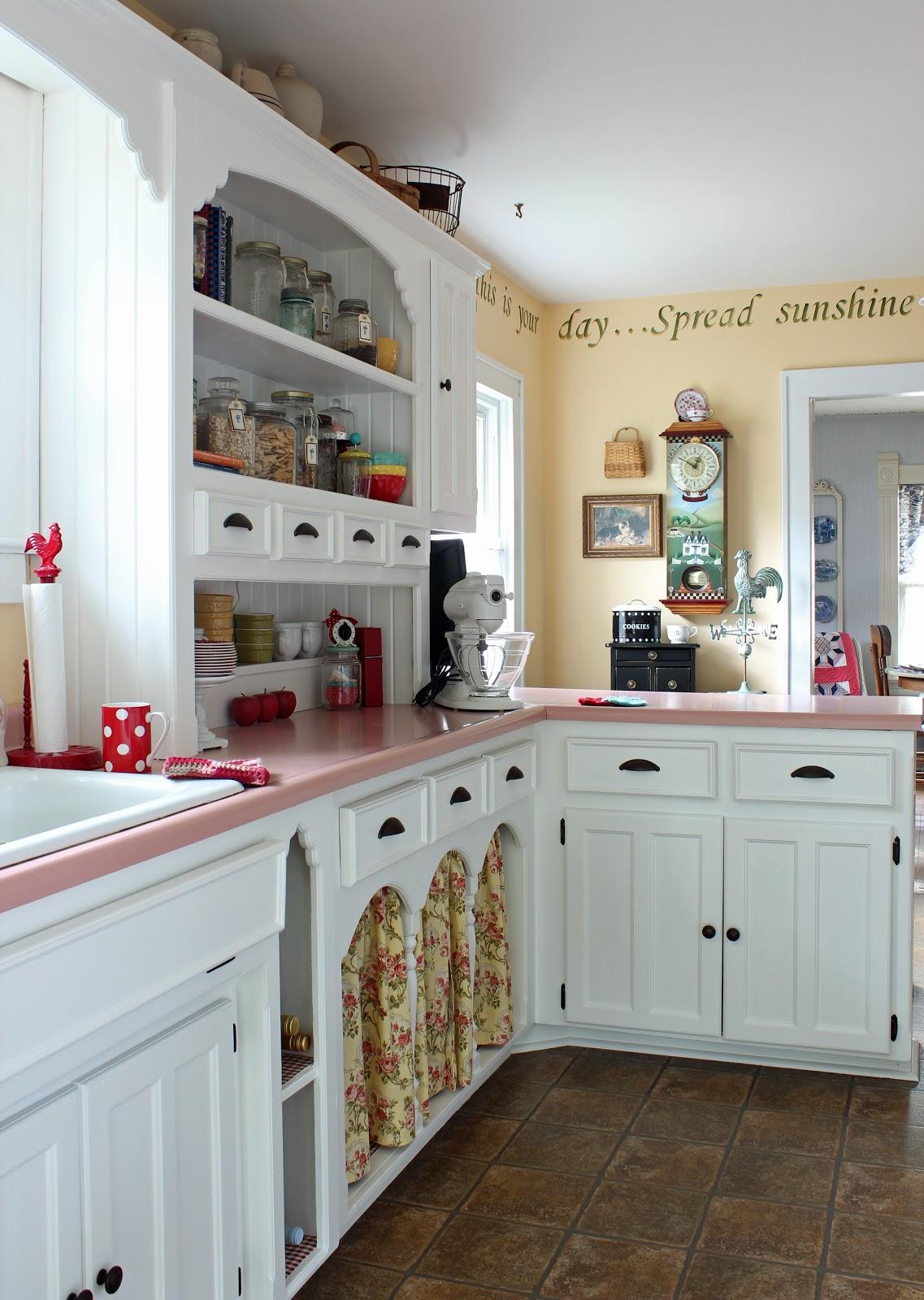 Pink Countertops Kitchen Ceramic Tile Catherine Holman Folk Art Living With