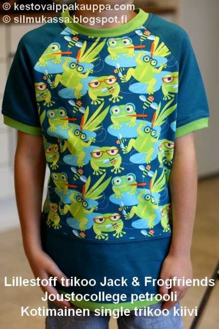 Lillestoff trikoo Jack   Frogfriends · Joustava collegekangas e254a7dc6a
