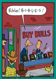 Funny Buy Bull Bible Shop Joke Picture
