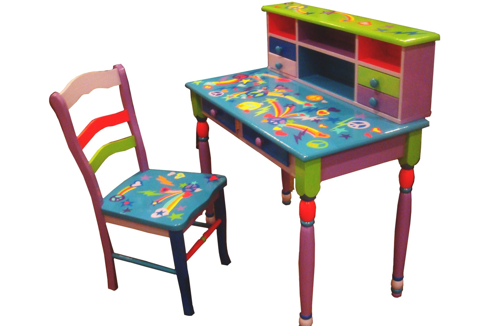 Girls Desk With Chair Uk Sale Hip Retro Art Work Hand Painted Furniture Illustrations