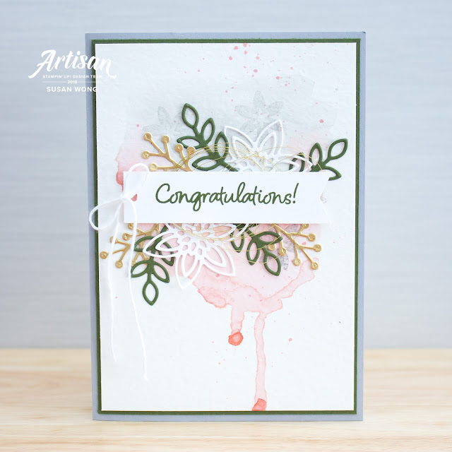 Happiness Surrounds by Stampin' Up! - wedding card - Susan Wong for Artisan Design Team
