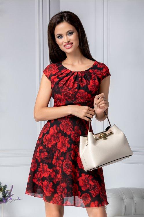 Rochie ieftina eleganta de vara neagra cu trandafiri rosii