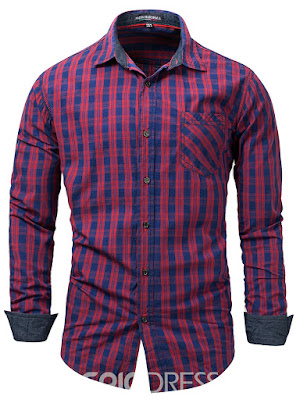 Lapel Plaid Long Sleeve Men's Shirt