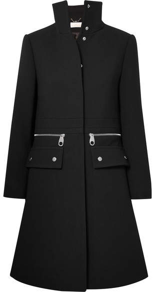 Chloé - Zip-detailed Wool-crepe Coat – Black
