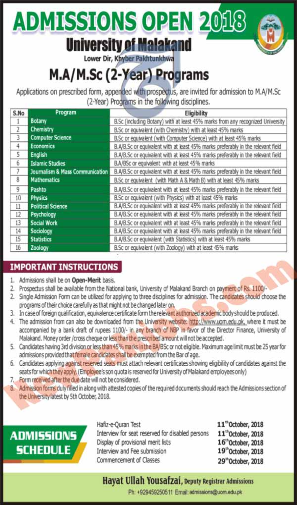 Open Merit Admissions for M.A, Msc Program in Malakand University 2019