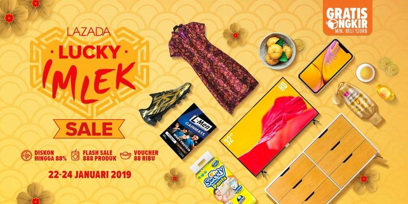 #Lazada - Promo Lucky IMLEK Sale 2019 Diskon , Flash Sale & Voucher (22 - 24 Jan 2019)