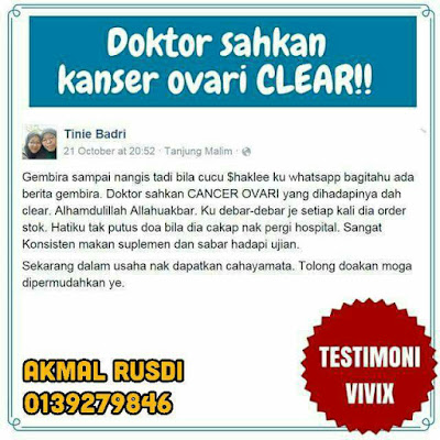 testimoni kanser ovari sembuh dengan vivix dan vitamin shaklee
