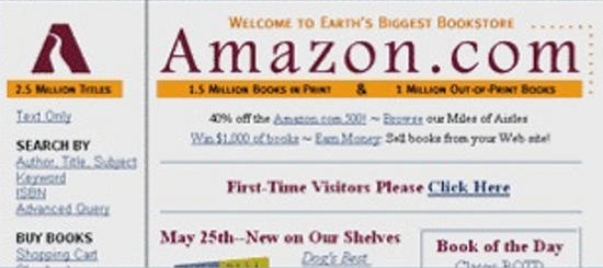 Amazon home page 1996