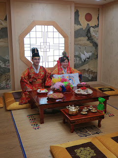 Traditional Korean wedding ceremony at wedding hall - bride and groom