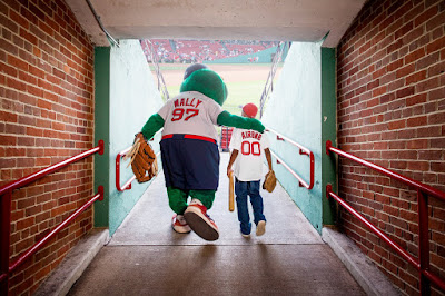 Model Club's Andrew Pires with Wally the Green Monster