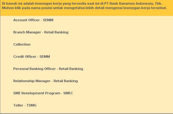 5 Lowongan Kerja BANK DANAMON Terbaru 2019