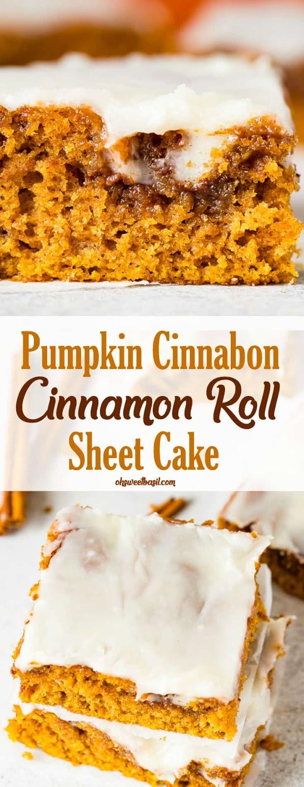 PUMPKIN CINNABON CINNAMON ROLL SHEET CAKE
