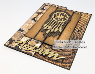 Linda Vich Creates: Follow Your Dreams Joy Fold Card. Wood Textures DSP and gold foil work together to create a stunning dreamcatcher focal point on this joy fold card.