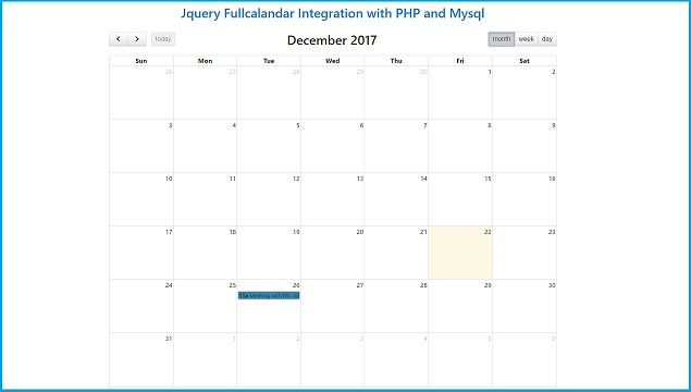Jquery Fullcalendar Integration with PHP and Mysql | Webslesson