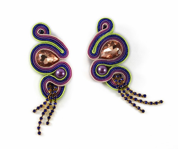 Violet, navy blue and lime soutache earrings, soutache handmade jewelry