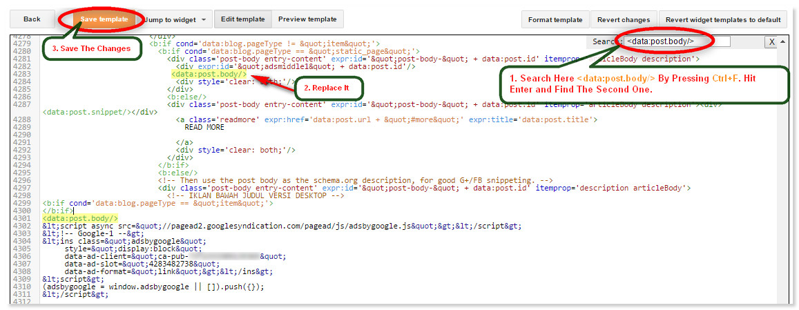 How to add adsense code inside blogger post body for Blogger post template code