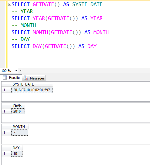 Getdate year Month day Sql