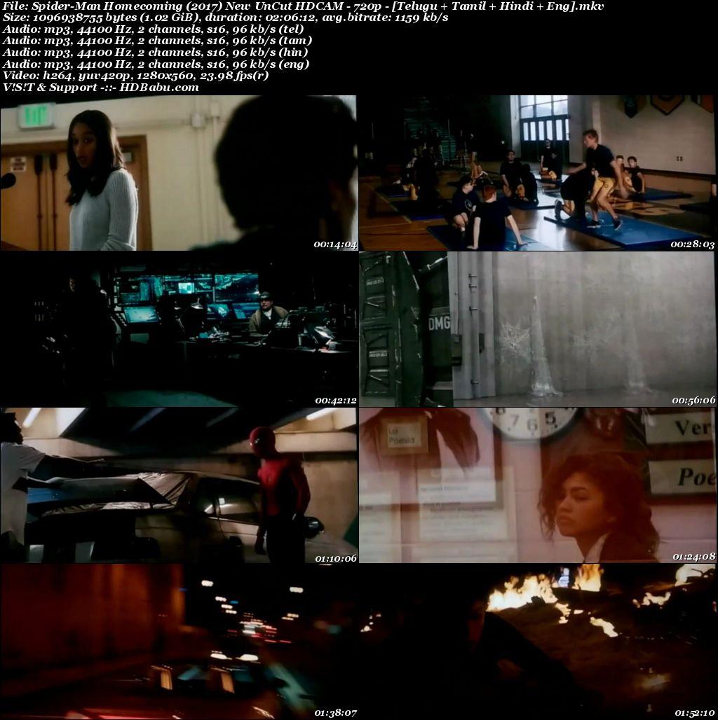 Spider-Man Homecoming (2017) New UnCut HDCAM 720p [Telugu + Tamil + Hindi + Eng] (Multi Audio) Screenshot