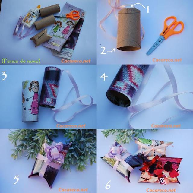 a1362fd82b4b4 Caixa de presente feito com rolo de papel higiênico - Forre o rolo com  papel de presente de sua preferência, dobre e faça um laço bonito. Pronto!