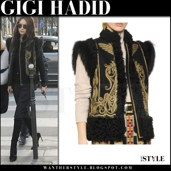Gigi Hadid in black fur trimmed embroidered etro vest and skinny jeans what she wore pfw