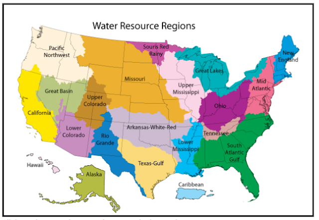 Map of American Watersheds.