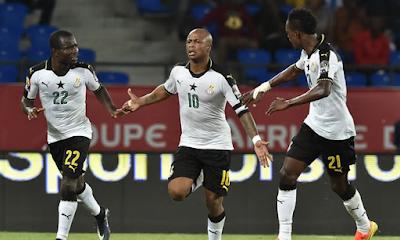Ghana festeja su victoria sobre República Democrática del Congo en la Copa Africana 2017
