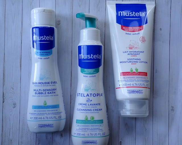 Mustela Baby Multi-Sensory Bubble Bath,  Stelatopia Cleansing Cream and Soothing Moisturizing Body Lotion