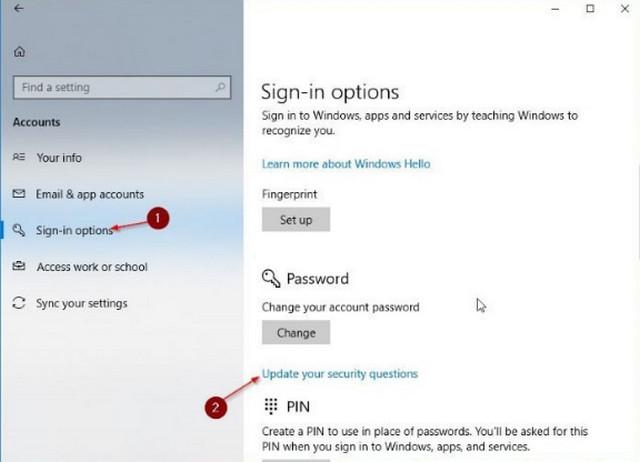 كيف تضيف سؤال أمان الى حساب المستخدم فى ويندوز 10