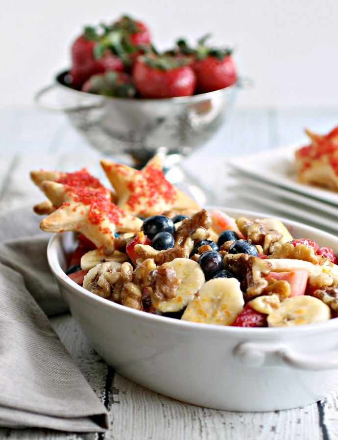 Fruit Salad with Candied Nuts and Puff Pastry