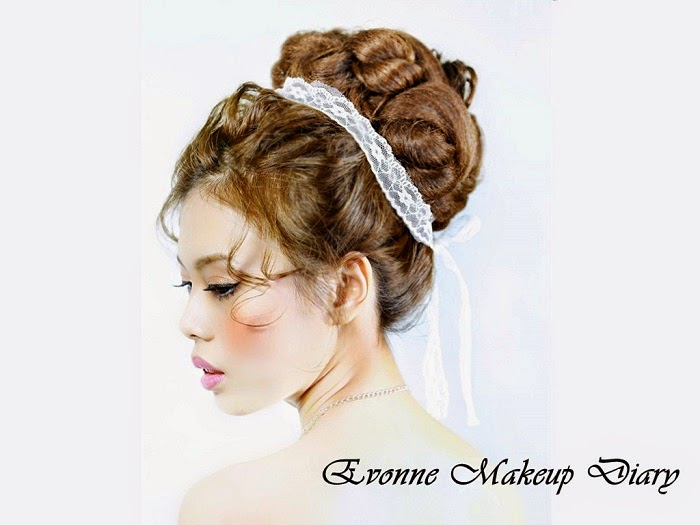 high lace hair band red blush