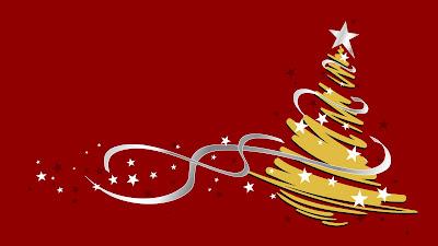 Rode achtergrond met gouden kerstboom