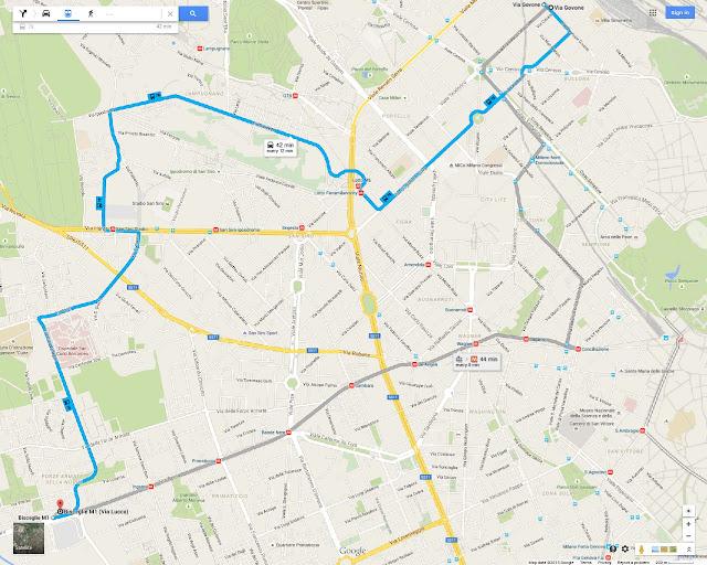 Milan's Bus 78 route map, from Sempione district, Fiera district, San Siro Stadium, Bisceglie