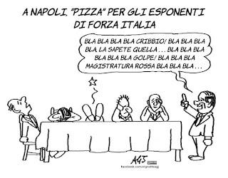 berlusconi, forza italia, pizza, napoli, vignetta, satira