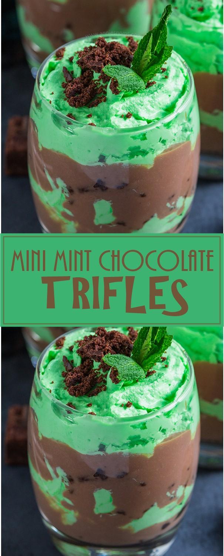 MINI MINT CHOCOLATE TRIFLES #Dessertrecipes