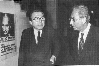 Francesco Cossiga (right) pictured with Giulio Andreotti shortly after the kidnap and murder of Aldo Moro