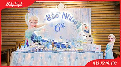 Trang trí sinh nhật chủ đề công chúa Elsa