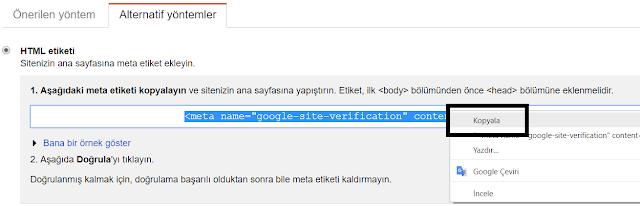 HTML etiketi ile site doğrulama