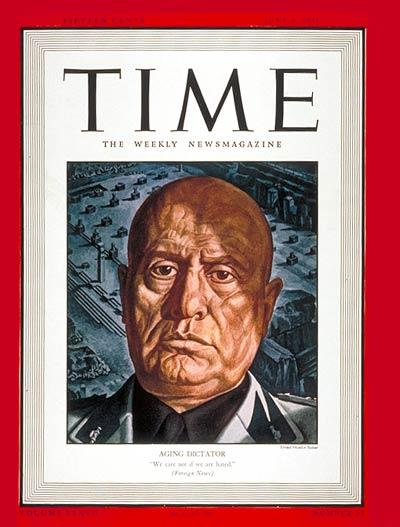 Mussolini on Time magazine 9 June 1941 worldwartwo.filminspector.com
