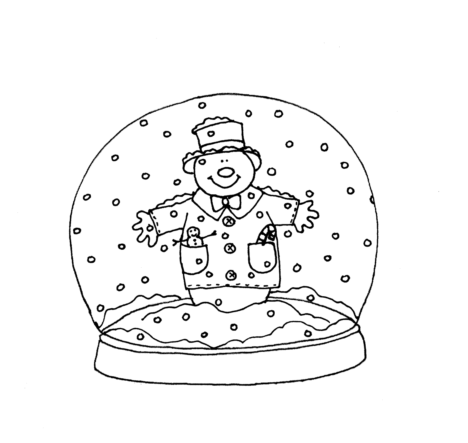 snow globe coloring page - free dearie dolls digi stamps snowglobe snowman