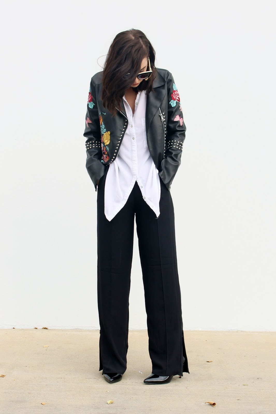 split hem pants, embroidered jacket, fall trends 2016, wear to work