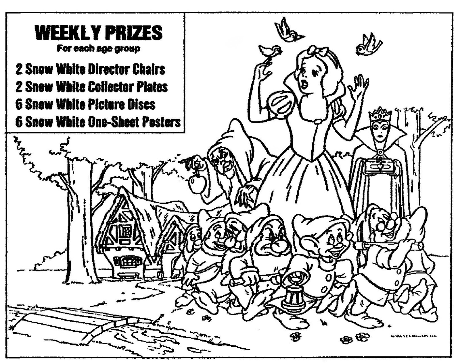 Mostly Paper Dolls Too!: SNOW WHITE Coloring Contest