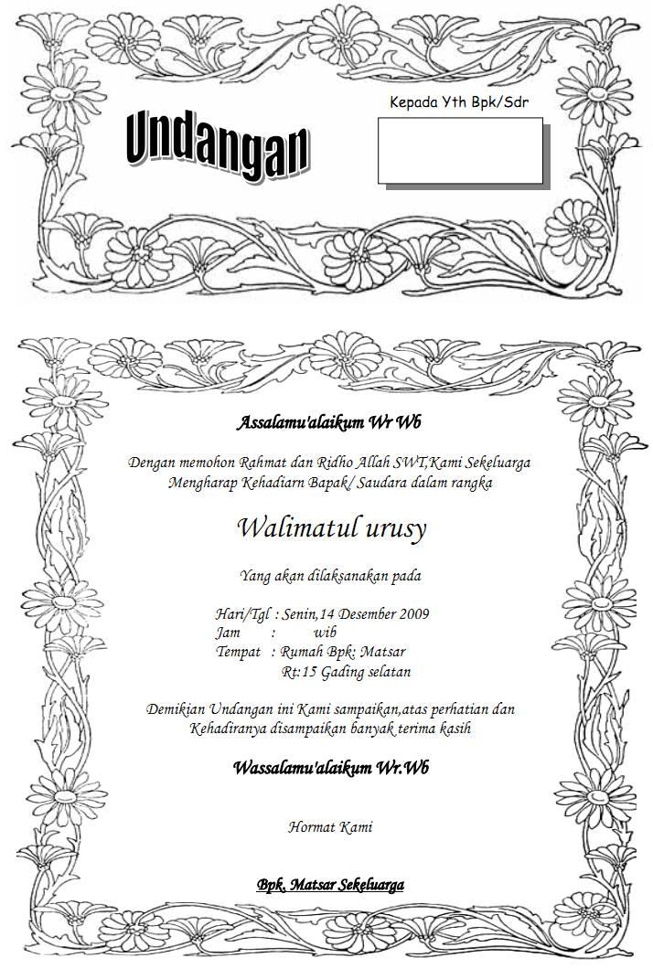 Contoh Surat Undangan Pernikahan Biasa - Contoh Isi Undangan