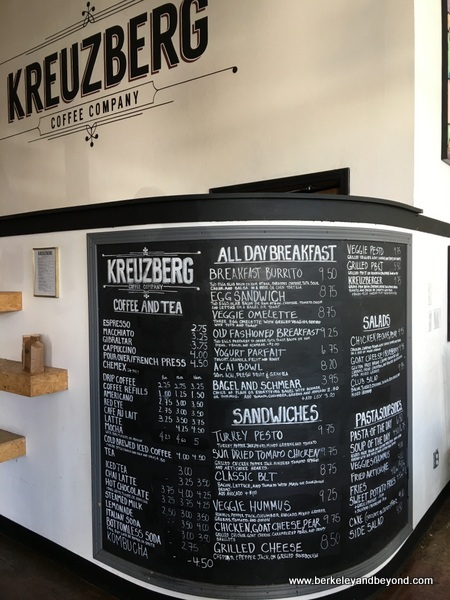 menu at Kreuzberg Coffee Company in downtown San Luis Obispo, California