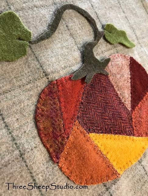 Crazy Quilt Wool Pumpkins by Rose Clay at ThreeSheepStudio.com