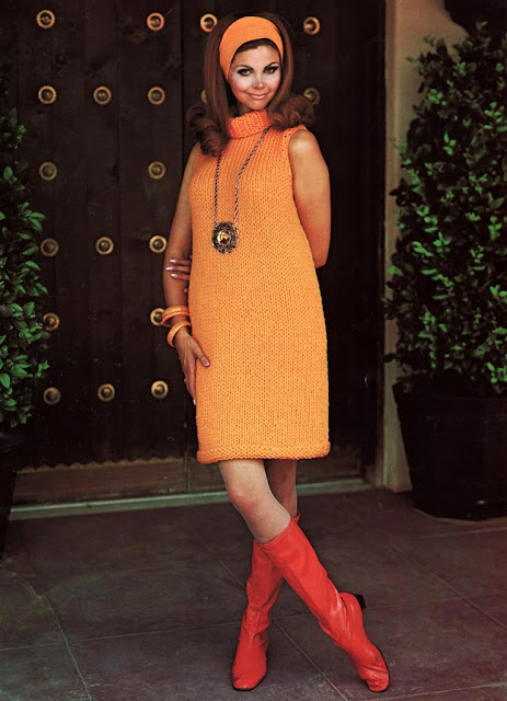 The Vintage Pattern Files: 1960s Free Knitting Pattern - Turtle Neck Mini Dress