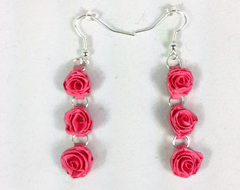 Rose long hangings quilling paper earrings for girls - Quillingpaperdesigns